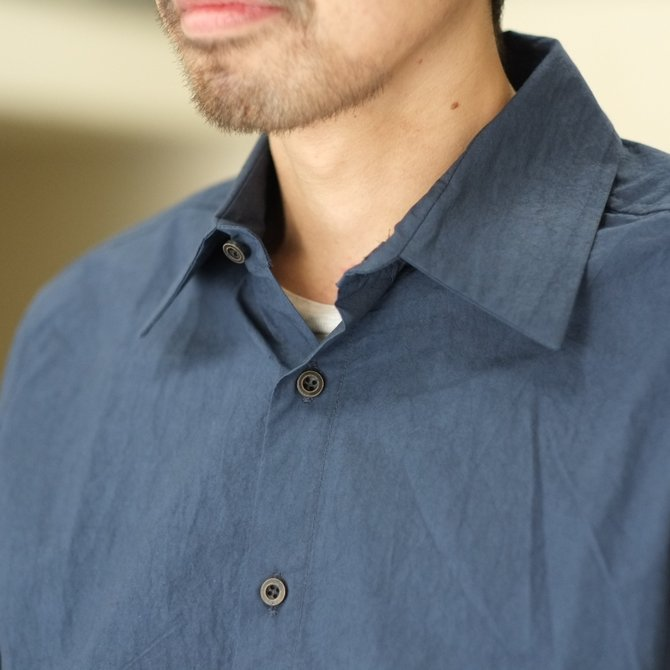 【30% off SALE】【2018 SS】FRANK LEDER(フランク リーダー) TRIPLE WASHED THIN COTTON 2 COLOR SHIRT -BLUE/NAVY-  #0216018(3)
