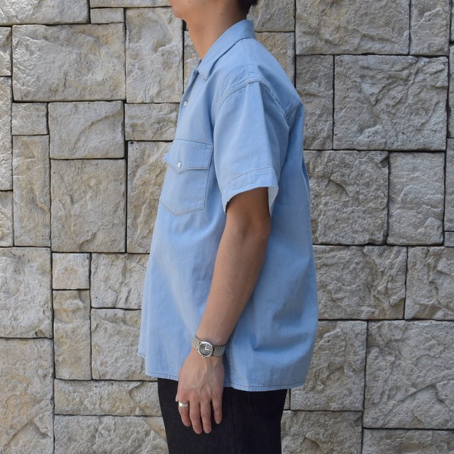 【30% off sale 】WESTOVERALLS( ウエストオーバーオールズ )  DENIM S/S SHIRTS 19SWSH01-SA(3)
