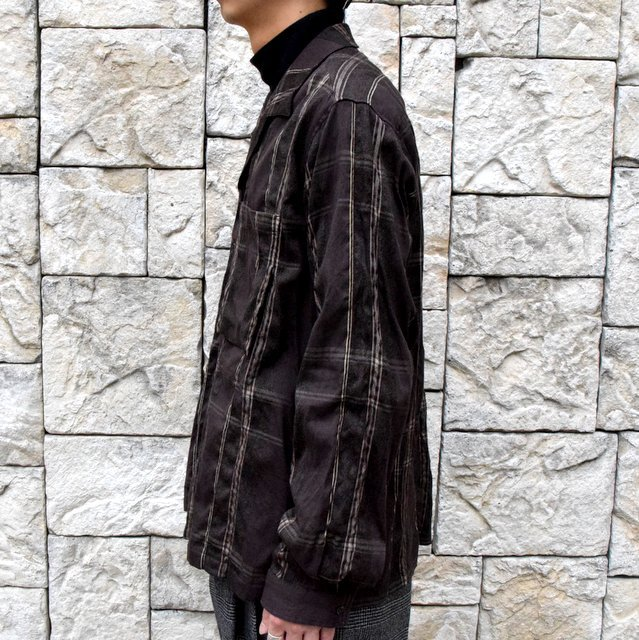 YOKE(ヨーク)/BIG PLAID OPEN COLLAR SHIRTS-BROWN- #YK19AW0062SH(3)