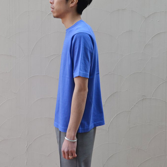 【40% off sale】niuhans(ニュアンス) Cotton Crew neck S/S Sweater -BLUE-(4)