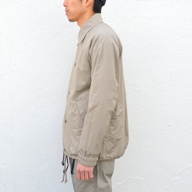 【40% off sale】ts(s) (ティーエスエス) Perforated Nylon Taffeta Cloth Coach Jacket -(32)Gray Beige- #TT36AJ02 (4)