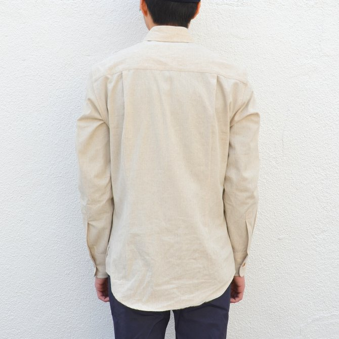 【40% off sale】S.E.H KELLY(エス・イー・エイチ・ケリー) /  LANCASTRIAN DESERT COTTON KELLY COLLAR SHIRT-(80)BEIGE- #5116023(4)