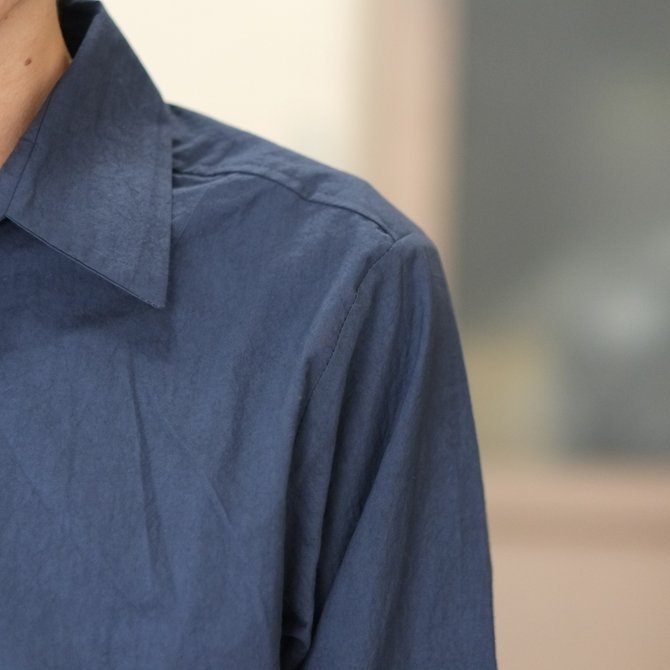 【30% off SALE】【2018 SS】FRANK LEDER(フランク リーダー) TRIPLE WASHED THIN COTTON 2 COLOR SHIRT -BLUE/NAVY-  #0216018(4)