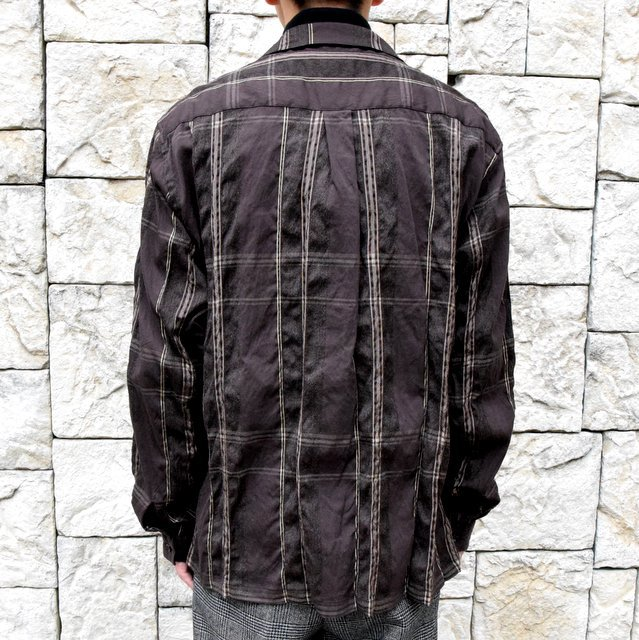 YOKE(ヨーク)/BIG PLAID OPEN COLLAR SHIRTS-BROWN- #YK19AW0062SH(4)