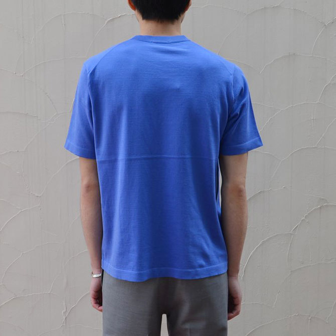 【40% off sale】niuhans(ニュアンス) Cotton Crew neck S/S Sweater -BLUE-(5)