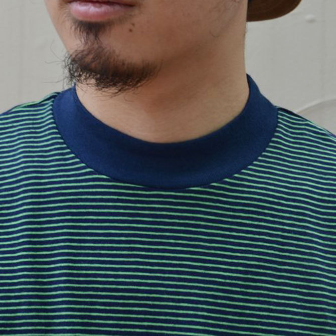 YOUNG&OLESEN(ヤングアンドオルセン) 4×2 STRIPE MOCKNECK-NAVY/KELLY-(5)