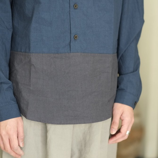 【30% off SALE】【2018 SS】FRANK LEDER(フランク リーダー) TRIPLE WASHED THIN COTTON 2 COLOR SHIRT -BLUE/NAVY-  #0216018(5)