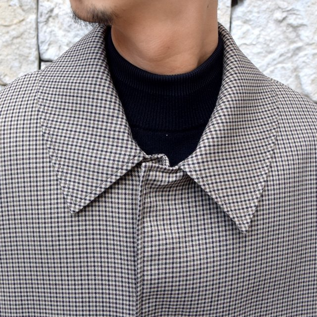 YOKE(ヨーク)/FIVE COLORS PLAID WOOL 3WAY BAL COLLAR SHARE COAT -BEIGE PLAID- #YK19AW0046C(5)