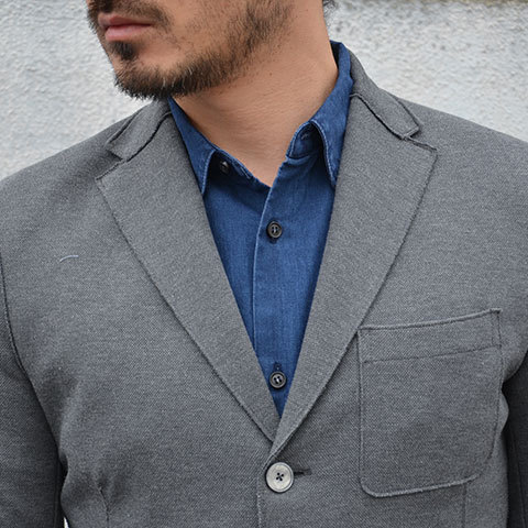 Harris Wharf London (ハリスワーフロンドン) Man Jacket Piquet -(140)middle grey- (6)