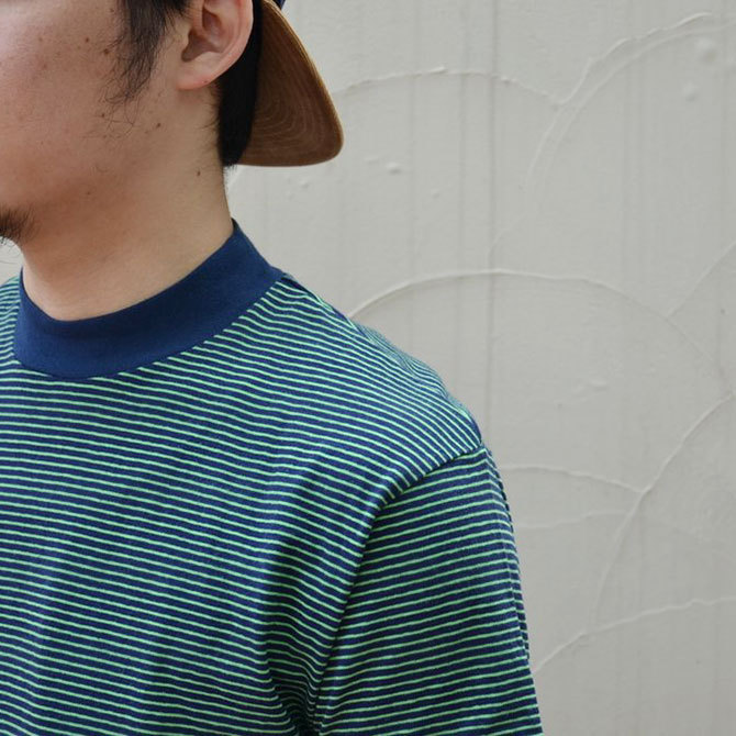 YOUNG&OLESEN(ヤングアンドオルセン) 4×2 STRIPE MOCKNECK-NAVY/KELLY-(6)