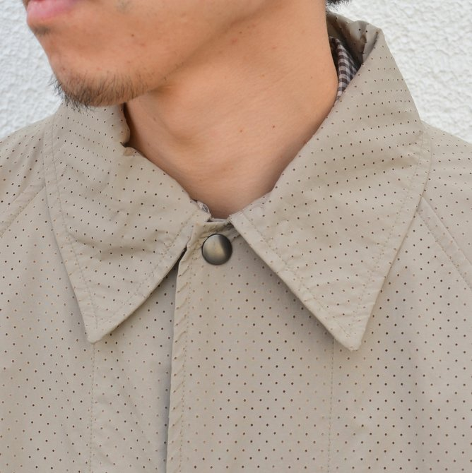 【40% off sale】ts(s) (ティーエスエス) Perforated Nylon Taffeta Cloth Coach Jacket -(32)Gray Beige- #TT36AJ02 (6)