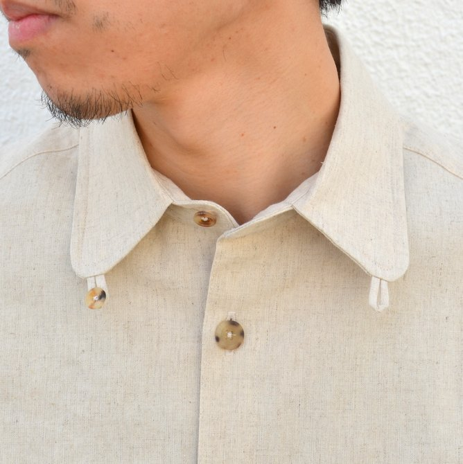 【40% off sale】S.E.H KELLY(エス・イー・エイチ・ケリー) /  LANCASTRIAN DESERT COTTON KELLY COLLAR SHIRT-(80)BEIGE- #5116023(6)