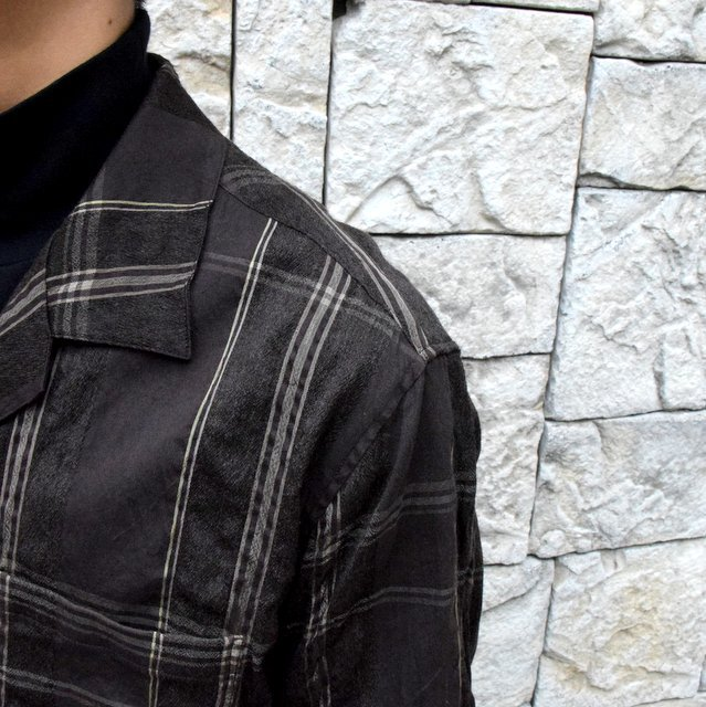 YOKE(ヨーク)/BIG PLAID OPEN COLLAR SHIRTS-BROWN- #YK19AW0062SH(6)