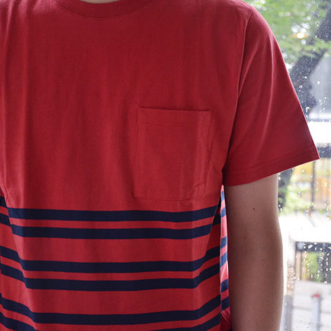 【30% off sale】SATURDAYS SURF NYC(サタデーズサーフ NYC) Randall City Stripe CUT AND SEW -RED- (7)
