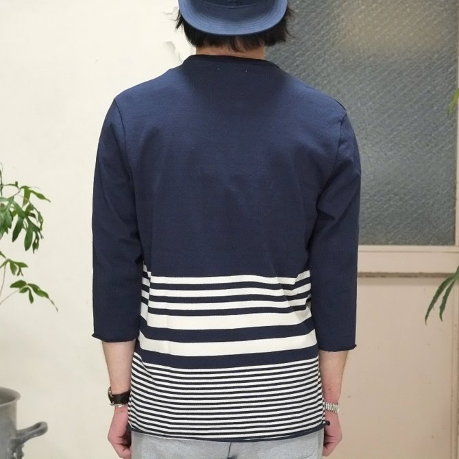 FLISTFIA(フリストフィア) 3/4 Sleeve Border T-Shirts -NAVY x Off White - (7)