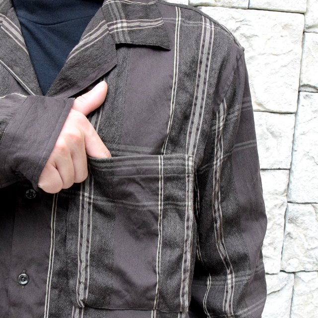 YOKE(ヨーク)/BIG PLAID OPEN COLLAR SHIRTS-BROWN- #YK19AW0062SH(7)