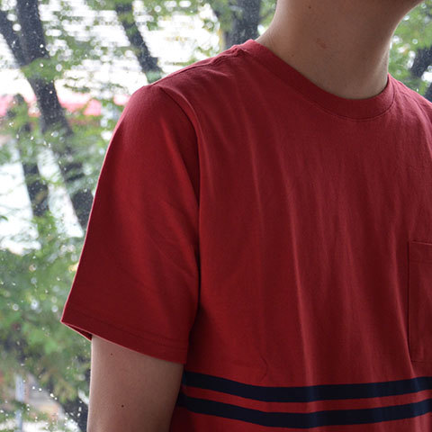 【30% off sale】SATURDAYS SURF NYC(サタデーズサーフ NYC) Randall City Stripe CUT AND SEW -RED- (8)