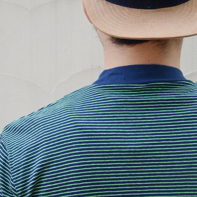 YOUNG&OLESEN(ヤングアンドオルセン) 4×2 STRIPE MOCKNECK-NAVY/KELLY-(8)