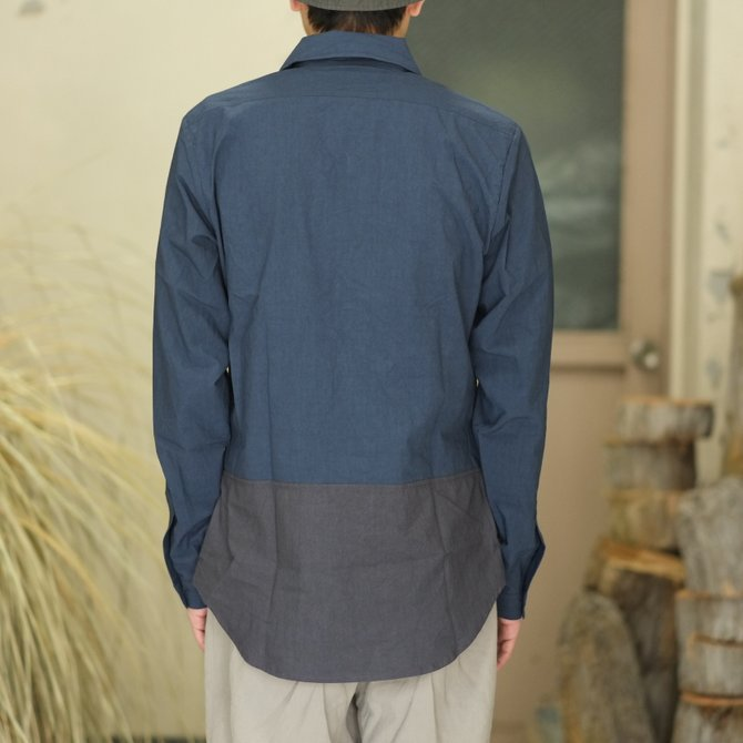 【30% off SALE】【2018 SS】FRANK LEDER(フランク リーダー) TRIPLE WASHED THIN COTTON 2 COLOR SHIRT -BLUE/NAVY-  #0216018(8)