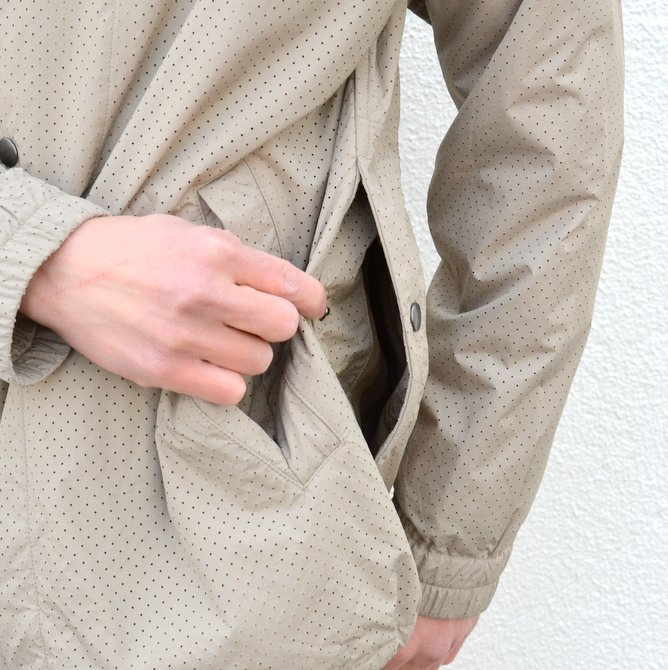 【40% off sale】ts(s) (ティーエスエス) Perforated Nylon Taffeta Cloth Coach Jacket -(32)Gray Beige- #TT36AJ02 (9)