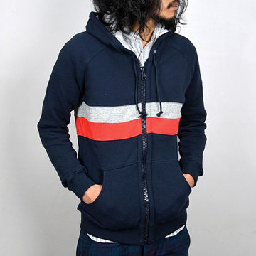 THIS IS NOT A POLO SHIRT.(ディスイズノットアポロシャツ) PANEL STRIPE ZIP HOODIE -(77)navy-