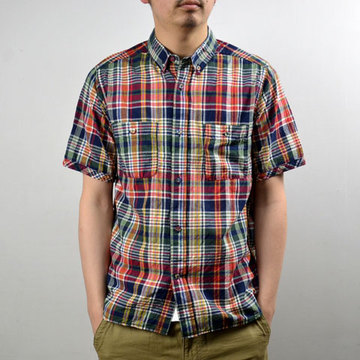 【20% off sale】Wardrobe(ワードローブ) Madras Check Half Sleeve Wpoket Shirt  NAVY