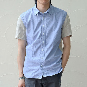 WIM NEELS(ウィム・ニールス) TAB COLLAR SHIRT SHORT SLEEVES -BLUE NATURAL-