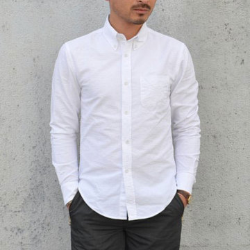 BAND OF OUTSIDERS(バンドオブアウトサイダーズ) SOLID OXFORD L/S Button Down Shirt -(10)white- 【Z】