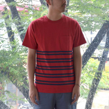 【30% off sale】SATURDAYS SURF NYC(サタデーズサーフ NYC) Randall City Stripe CUT AND SEW -RED-