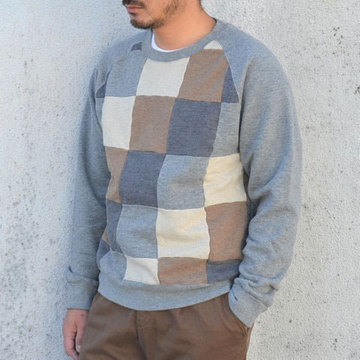【40% off sale】ts(s) (ティーエスエス) Brushed Back Jersey Patchwork Crew neck Shirt -Grey-
