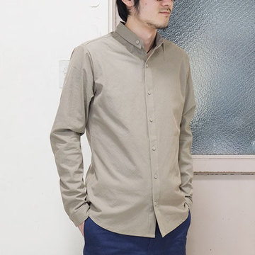 【50% OFF SALE】THE ESSENCE(エッセンス) COTTON SHIRT WITH DOUBLE COLLAR -(82)BEIGE-