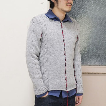 【50% OFF SALE】THE ESSENCE(エッセンス) KNITTED WOOL PULLOVER -(92)LT GREY-