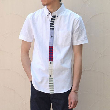【40% off sale】 BAND OF OUTSIDERS(バンドオブアウトサイダーズ) S/S Button Down Shirt with Multi Contrast Placket -(10)white-