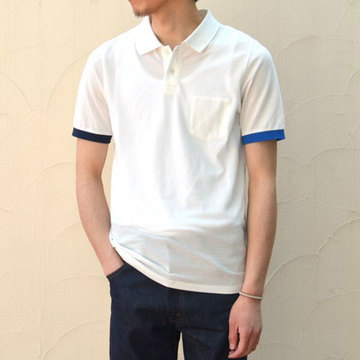 【40% off sale】 BAND OF OUTSIDERS(バンドオブアウトサイダーズ) Basic S/S Trap Pocket Polo W Contrast Cuiffs -(10)white-