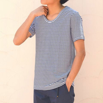 PYJAMA CLOTHING (ピジャマ・クロージング) S/S U NECK STRIPES -BLACK & WHITE-【H】