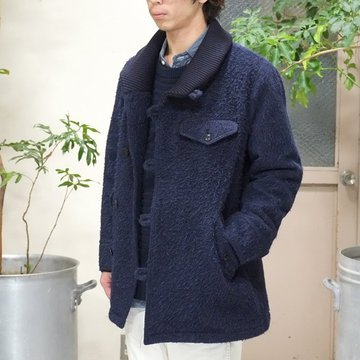 【40% off sale】ts(s) (ティーエスエス) Wool*Alpaca*Mohair Shaggy Cloth Knit Collar Coat -NAVY-