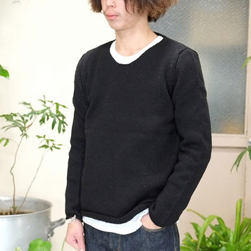 【40% off sale】Bergfabel(バーグファベル) Crew Neck P/O Hand Made Knit -BLACK-