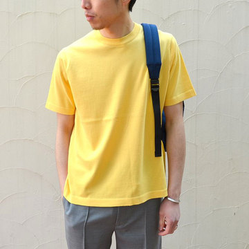 【40% off sale】niuhans(ニュアンス) Cotton Crew neck S/S Sweater -YELLOW-