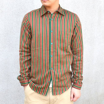 【40% off sale】FRANK LEDER(フランクリーダー) TRADITIONAL GERMAN FORK FABRIC SHIRT -(48/76)GREEN/DK RED- #0716037【S】