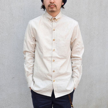 S.E.H KELLY(エス・イー・エイチ・ケリー) LANCASHERE MILITARY COTTON-LINEN SHIRT-(80)ECRU-
