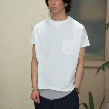 Cal Cru(カルクルー) C/N S/S RELAXED FIT反応染め(MADE IN USA)  -WHITE-