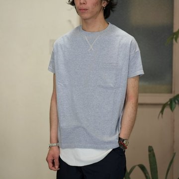 Cal Cru(カルクルー) C/N S/S RELAXED FIT反応染め(MADE IN USA)  -GRAY-