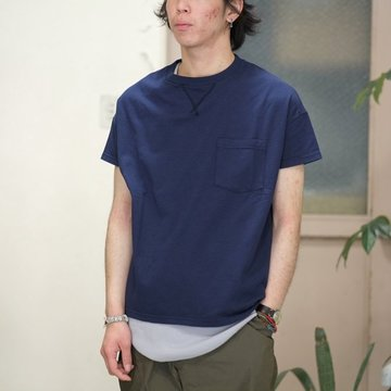 Cal Cru(カルクルー) C/N S/S RELAXED FIT反応染め(MADE IN USA)  -NAVY-