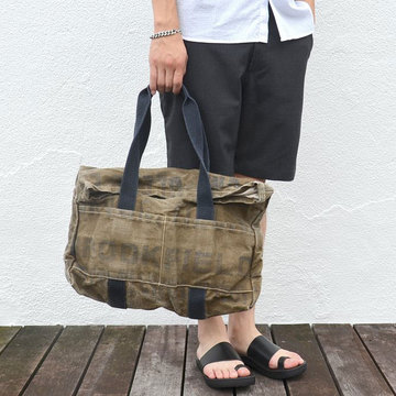 【40% off sale】GARMENT SUPPLY(ティーケーガーメントサプライ)VINTAGE FABRIC TOTE BAG -KHAKI-