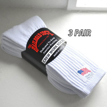 RAILROAD SOCK(レイルロードソック) 3PAIR CREW WORK SOCKS -WHITE-