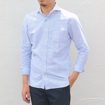 KENNETH FIELD (ケネスフィールド) EXTREME SPREAD SHIRT -WHT X BLUE-