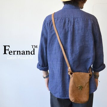 FERNAND LEATHER(フェルナンド・レザー) Latch Pouch M -BEIGE SUEDE-