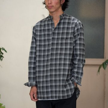 【2016 AW】Honor gathering(オナーギャザリング) mix cotton block check peach finish shirt -gray check- #16AW-S06