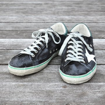 GOLDEN GOOSE (ゴールデングース) SNEAKER SUPER STAR -(A69)BLACK SUEDE PETROL- #G29MS590