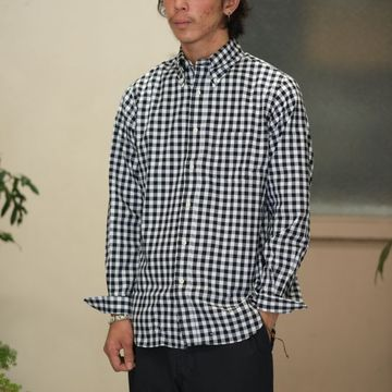 INDIVIDUALIZED SHIRTS(インディビジュアライズドシャツ)/Big Gingham Check B.D. Shirt (Standard Fit) -BLACK-